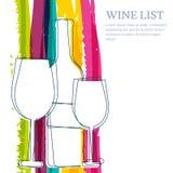 Wijnfles, glassilhouet en de waterverfbac van regenboogstrepen Stock Foto
