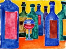 Wijnflessen. Stock Foto's