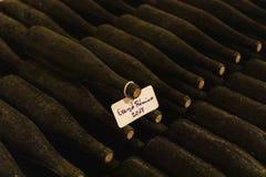 wijnflessen in archiefkelder, Ezerjo, Hongarije royalty-vrije stock afbeeldingen