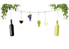 Wijnflessen, druiven en wijnglazen vector illustratie