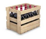 Wijnflessen in een houten krat Stock Afbeelding