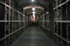 Wijnflessen in wijnmakerij Royalty-vrije Stock Afbeeldingen