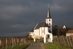 Wijngaarden met kerk in Hochheim, Duitsland Stock Afbeeldingen