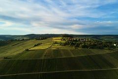 Wijngaardenlandschap op de heuvel vanaf bovenkant met hommel, dji royalty-vrije stock afbeeldingen