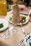 Wijnglas en servet Stock Foto