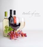 Wijnglas, flessen wijn, druiven stock afbeelding