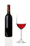 Wijnglas met fles Royalty-vrije Stock Fotografie