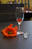 Wijnglas op een lijst dichtbij aan bloemen Stock Fotografie