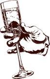 Wijnglas ter beschikking Vector Illustratie