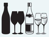 Wijnglazen en flessen Stock Fotografie