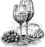 Wijnglazen en kaas stock illustratie