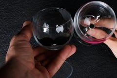 Wijnglazen in handen stock foto's