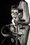 Wijnglazen op de Zwarte Royalty-vrije Stock Foto's
