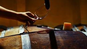 Wijnhandelaar die steekproef van rode wijn in kelder nemen stock footage