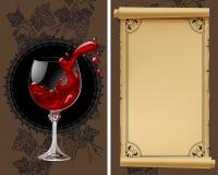 Wijnlijst met oud perkament, druiven, fles en wijnglas met Royalty-vrije Stock Foto