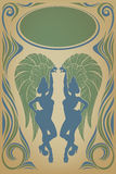Wijnoogst affiche met aantrekkelijke sambakoningin Royalty-vrije Stock Fotografie