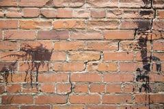 Wijnoogst bevlekte bakstenen muur Stock Afbeeldingen