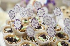 Wijnoogst die cupcakes weding Stock Foto