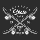 Wijnoogst die zwart-wit etiketconcept met een skateboard rijden vector illustratie