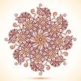 Wijnoogst geïsoleerde mandala in Indische mehndistijl Royalty-vrije Stock Afbeelding