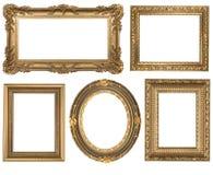 Wijnoogst Gedetailleerde Gouden Lege Ovale en Vierkante Picure Stock Fotografie