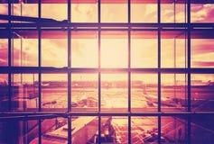Wijnoogst gefiltreerd beeld van een luchthaven Royalty-vrije Stock Afbeelding