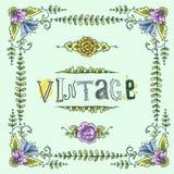Wijnoogst gekleurd kader Stock Foto's
