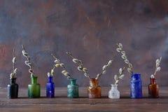 Wijnoogst gekleurde glasflessen met bloeiende wilgentakken,  Royalty-vrije Stock Foto