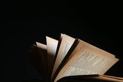 Wijnoogst geopend boek stock foto