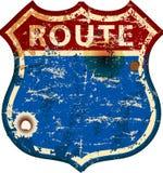 Wijnoogst geslagen lege route 66 verkeersteken, retro grungy vectorillustratie royalty-vrije illustratie