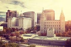 Wijnoogst gestemd Salt Lake City de stad in bij zonsondergang, de V.S. Royalty-vrije Stock Foto's