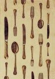Wijnoogst gestileerd beeld van vorken, messen en lepels Royalty-vrije Stock Foto's