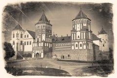 Wijnoogst gestileerd beeld van Witrussische oriëntatiepuntaantrekkelijkheid royalty-vrije stock afbeeldingen