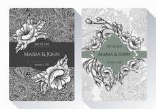 Wijnoogst sparen de datum of huwelijksinzameling van de uitnodigingskaart met zwart-witte bloemen, bladeren en takken Stock Afbeelding
