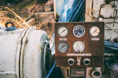 Wijnoogst verlaten machine Mechanische sensoren Royalty-vrije Stock Foto's