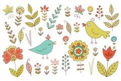 Wijnoogst voor uw ontwerp met vogels en bloemen wordt geplaatst die vector illustratie