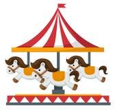 Wijnoogst vrolijk-gaan-om carrouselvector stock illustratie