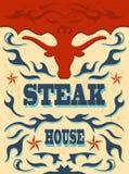 Wijnoogst - westelijke Steakhouse-Affiche Royalty-vrije Stock Fotografie