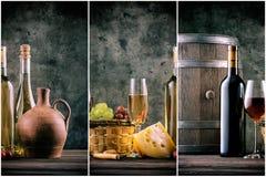 Wijnstilleven met glazen van flessen en druiven royalty-vrije stock foto's