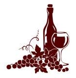 Wijnstok en een wijnfles vector illustratie