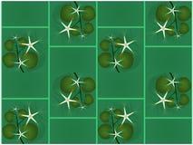 Wijnstok wit bloesems en blad tegen overzees groene achtergrond naadloze patroon vectorillustratie royalty-vrije illustratie