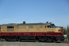 Wijntrein in Napa. Het is een excursietrein die tussen Napa en St.Helena, Californië loopt Royalty-vrije Stock Afbeeldingen