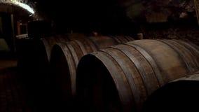 Wijnvatten in een oude kelder bij wijnmakerij worden gestapeld die stock footage