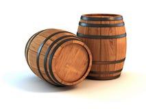 Wijnvatten over witte achtergrond Stock Fotografie