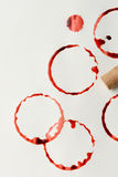 Wijnvlekken en Cork Stock Fotografie