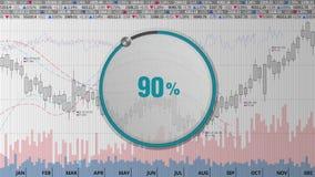 Wijs op de wijzerplaat van de ongeveer 90 percentscirkel op diverse geanimeerde Effectenbeursgrafieken en grafieken (tekstversie) royalty-vrije illustratie