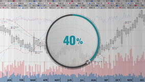 Wijs op de wijzerplaat van de ongeveer 40 percentscirkel op diverse geanimeerde Effectenbeursgrafieken en grafieken (tekstversie) stock illustratie