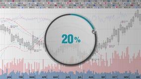 Wijs op de wijzerplaat van de ongeveer 20 percentscirkel op diverse geanimeerde Effectenbeursgrafieken en grafieken (tekstversie) vector illustratie