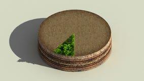 Wijs op het diagram van de ongeveer 10 percentscirkel, grafiek De elementen van Ecoinfographic met bomen, bladeren, aarde en gras stock illustratie