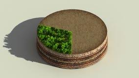 Wijs op het diagram van de ongeveer 30 percentscirkel, grafiek De elementen van Ecoinfographic met bomen, bladeren, aarde en gras vector illustratie